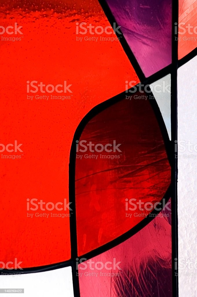 Stained glass colored in red and white royalty-free stock photo