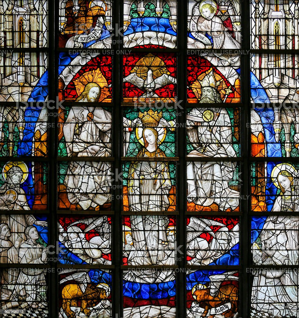 Stained Glass - Coronation of Mary stock photo