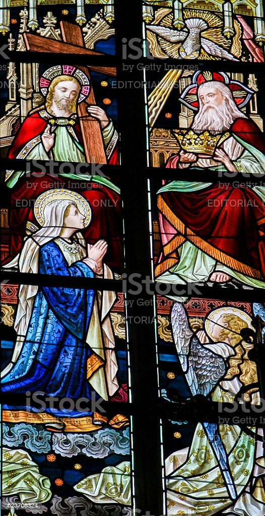 Stained Glass - Coronation of Mother Mary by the Holy stock photo