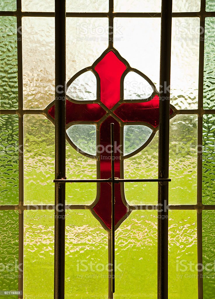 Stained Glass Cross royalty-free stock photo