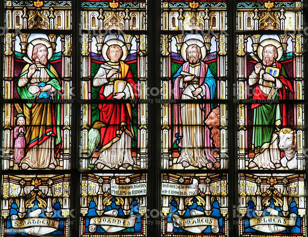 Stained Glass depicting the Four Evangelists stock photo