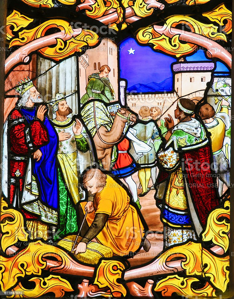 Stained Glass depicting the Three Kings in Tours Cathedral stock photo