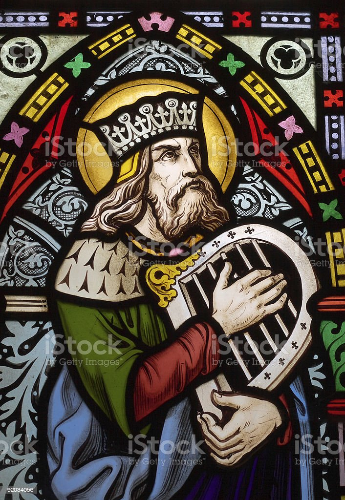 Stained glass depiction of the Biblical King David stock photo
