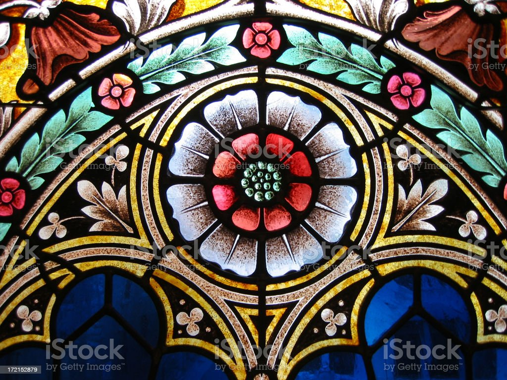 stained glass detail stock photo