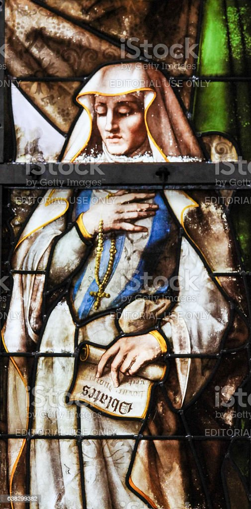 Stained Glass - Frances of Rome stock photo