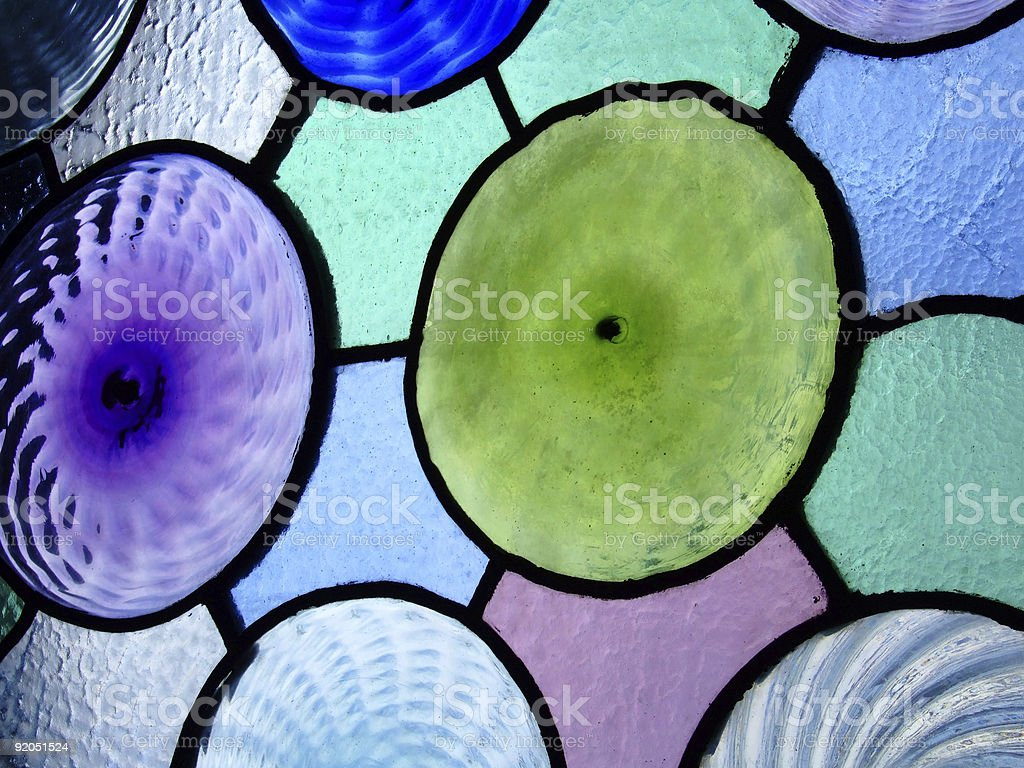 Stained glass - geometric circles stock photo