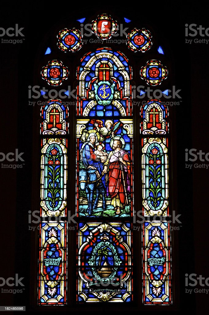 Stained Glass - Holy Family Traveling stock photo