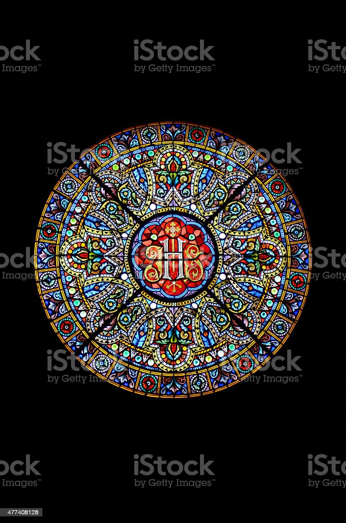 Stained glass in a cathedral stock photo