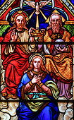 Stained glass in Bariloche - the Coronation of Mother Mary