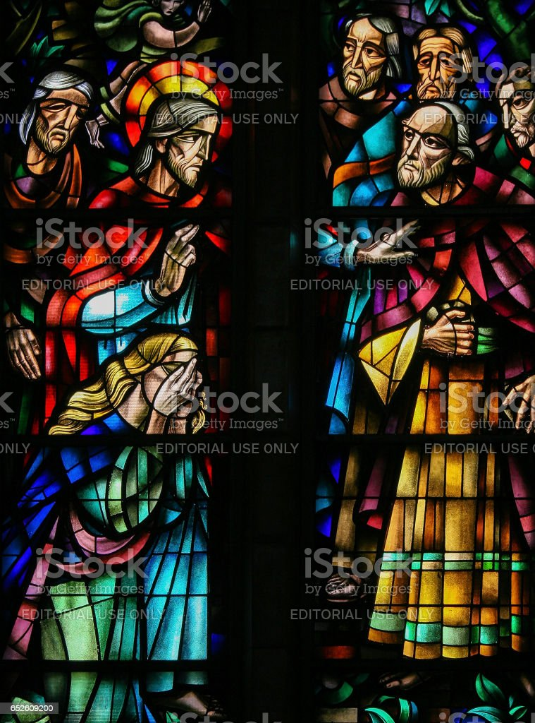 Stained Glass in Koekelberg, Brussels stock photo