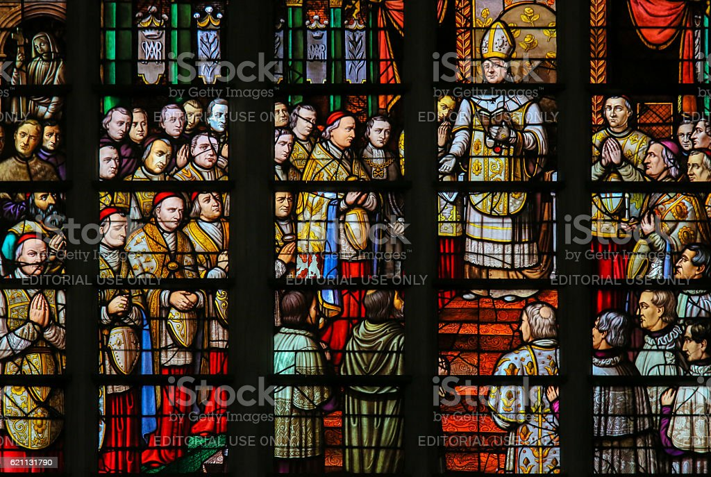 Stained Glass in Mechelen Cathedral stock photo