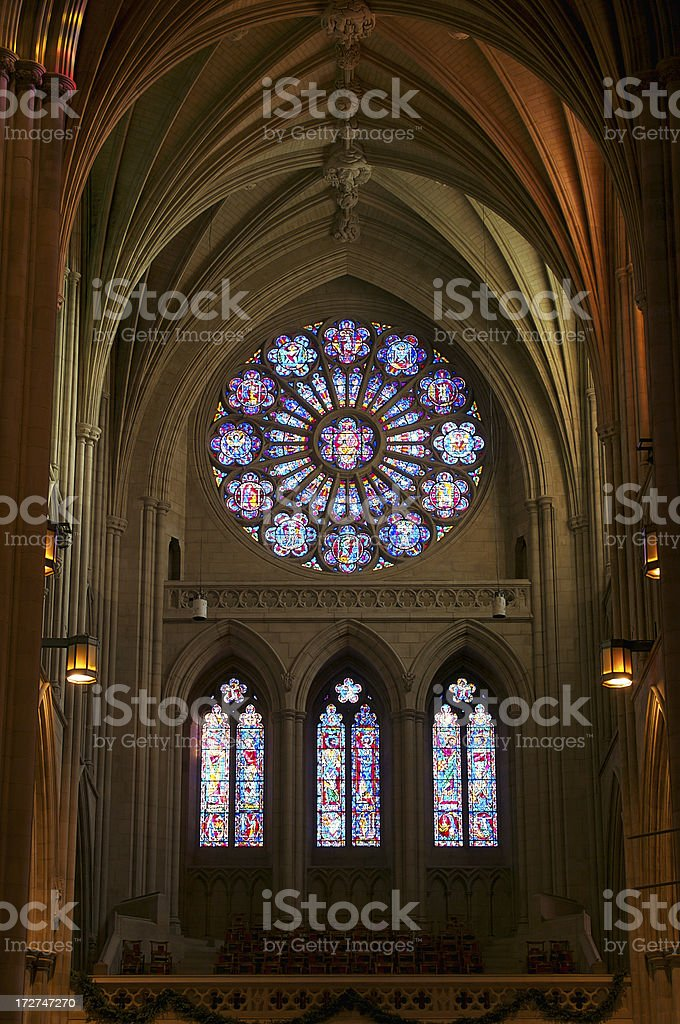 Stained Glass in National Cathedral royalty-free stock photo