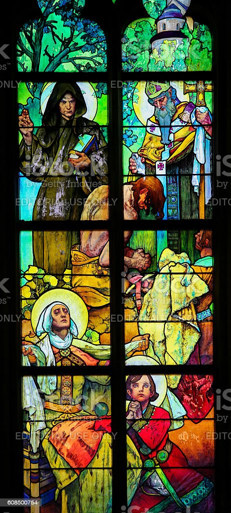 Stained Glass in Prague Cathedral by Alphonse Mucha stock photo