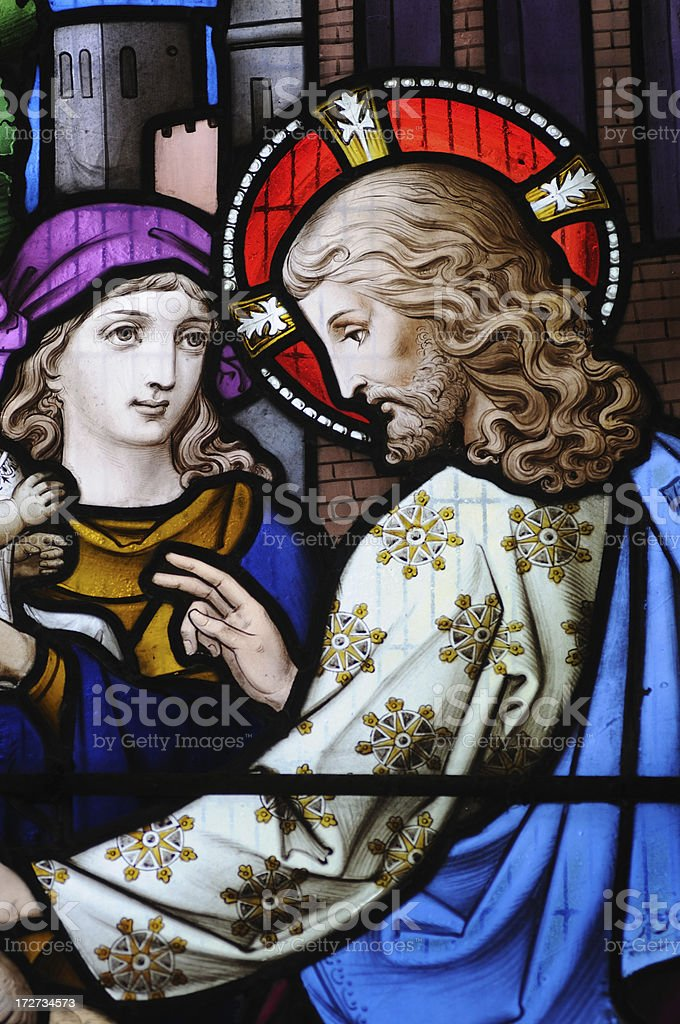 Stained Glass in St Andrew's Church royalty-free stock photo