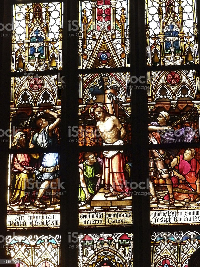 Stained glass in the Basilica of Saints Peter and Paul stock photo