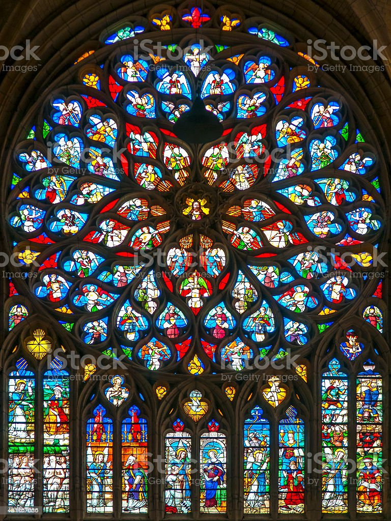 Stained glass in the cathedral of Laon in France stock photo