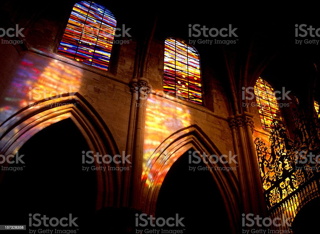 Stained glass in the church - Cuenca royalty-free stock photo