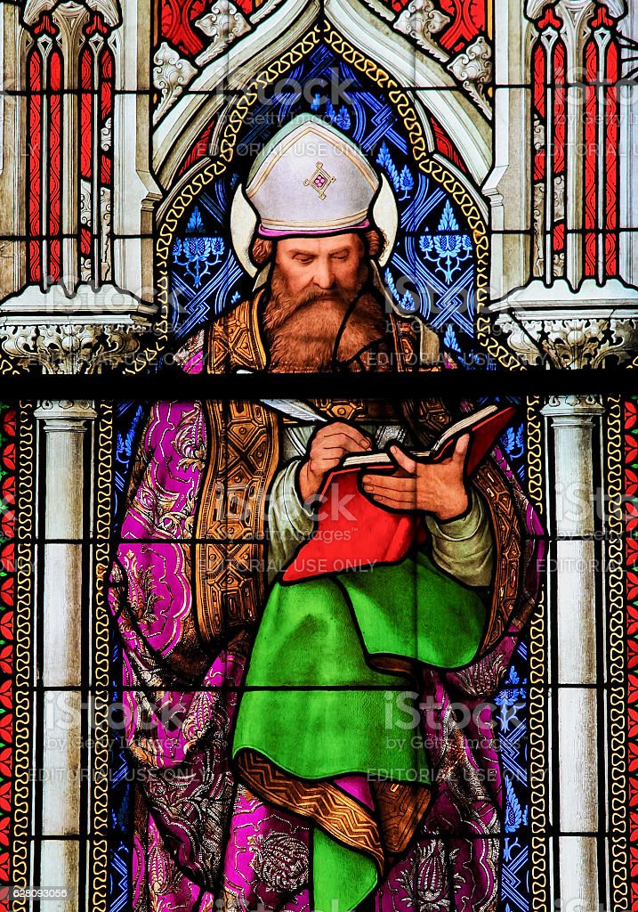 Stained Glass in the Dom of Cologne - Saint Augustine stock photo