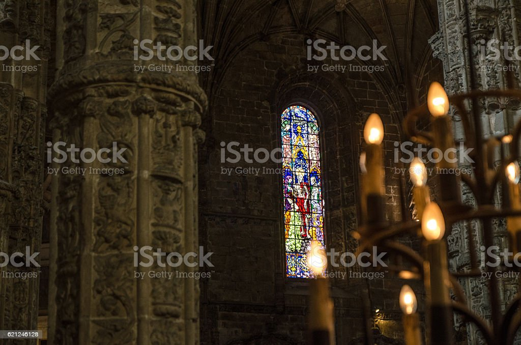 Stained glass inside the Jeronimos Monastery stock photo