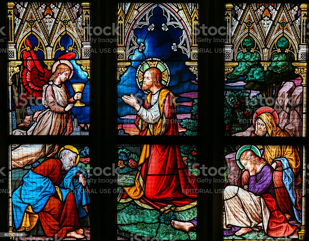 Stained Glass - Jesus in the Garden of Gethsemane stock photo