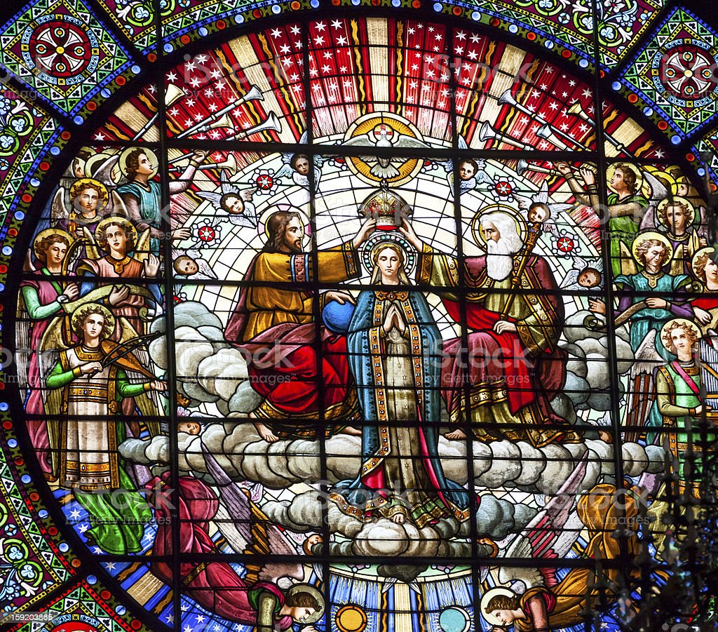 Stained Glass Jesus Mary Rose Window Monastery Montserrat Catalonia Spain stock photo