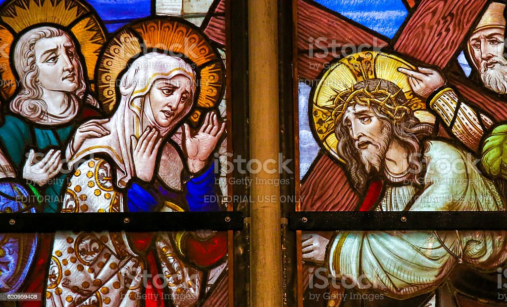 Stained Glass - Jesus meets Mary on the Way of the stock photo