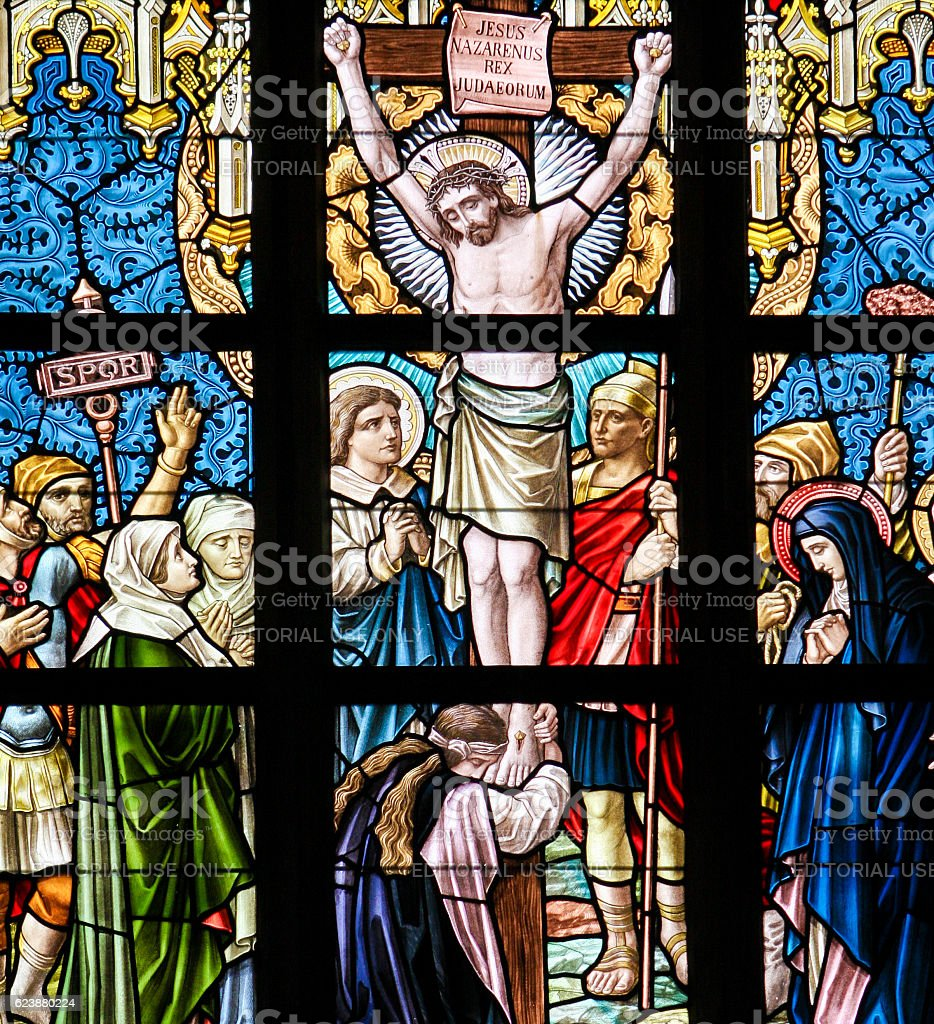 Stained Glass - Jesus on the Cross stock photo