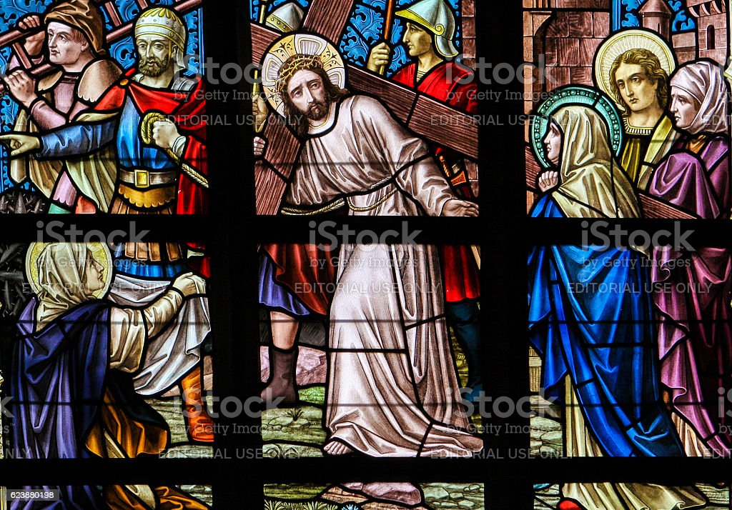 Stained Glass - Jesus on the Via Dolorosa stock photo