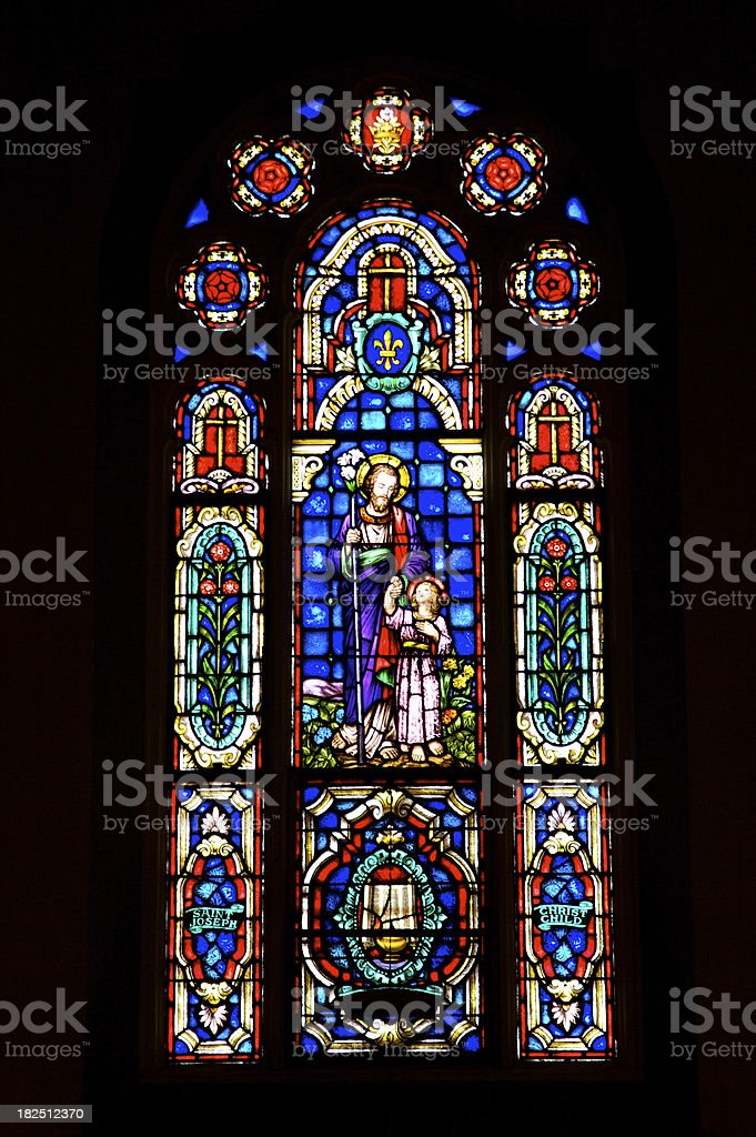 Stained Glass - Joseph and Jesus stock photo