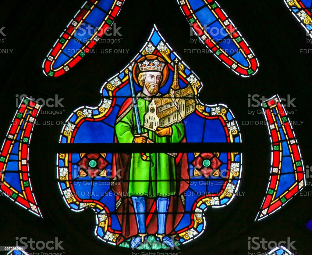Stained Glass - King Saint stock photo