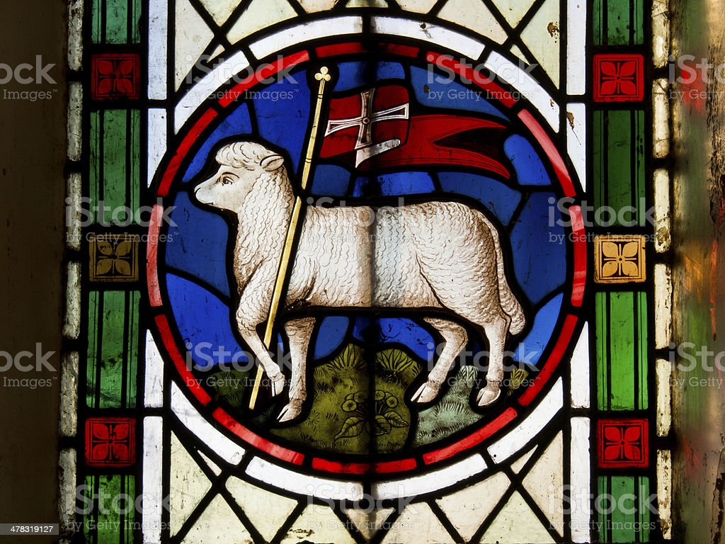 Stained Glass Lamb of God stock photo