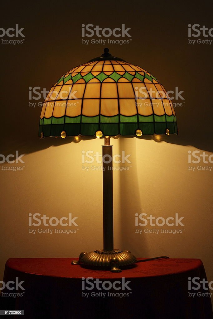Stained glass lamp on a table royalty-free stock photo