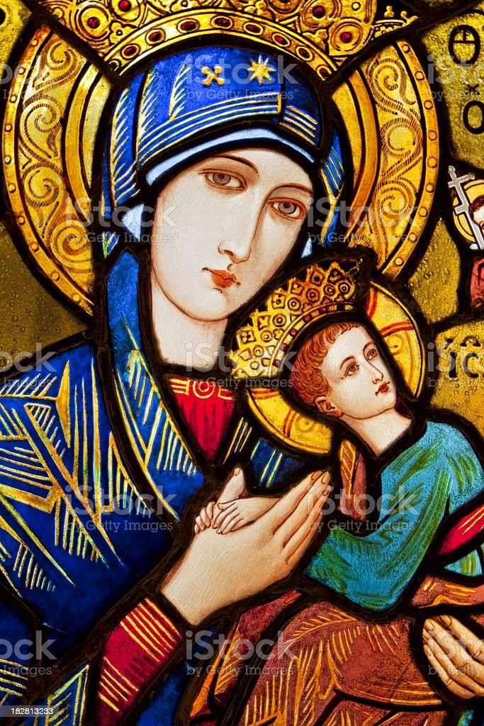 Stained glass - Mary and Jesus stock photo