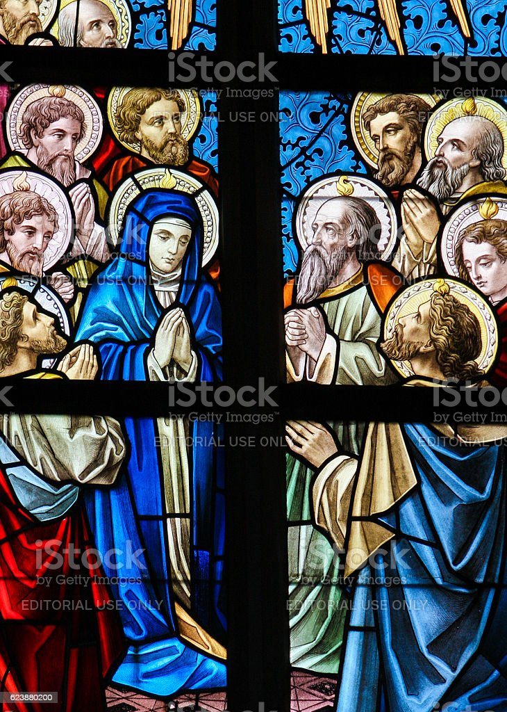 Stained Glass - Mary and the Apostles on Pentecost stock photo