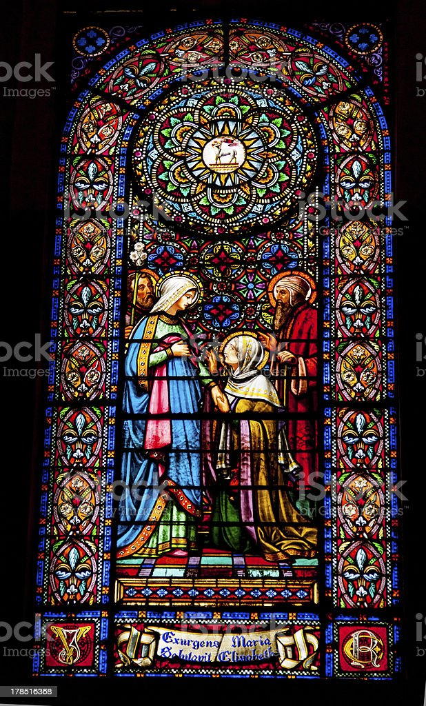 Stained Glass Mary Elizabeth Meeting Monestir Monastery Montserrat Catalonia Spain stock photo