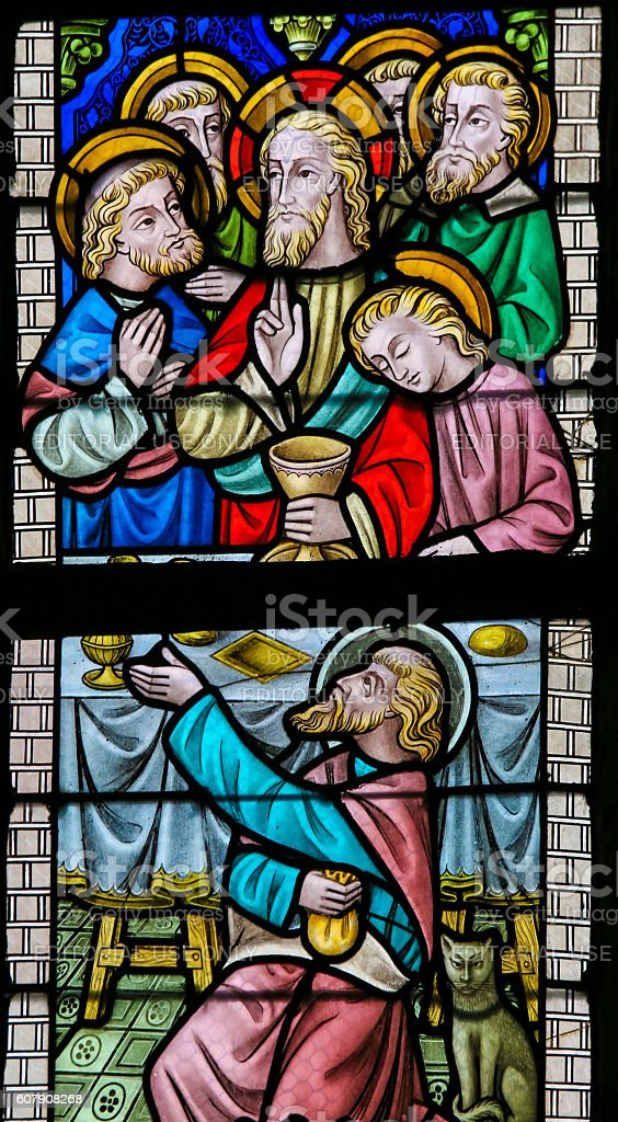 Stained Glass - Maundy Thursday stock photo