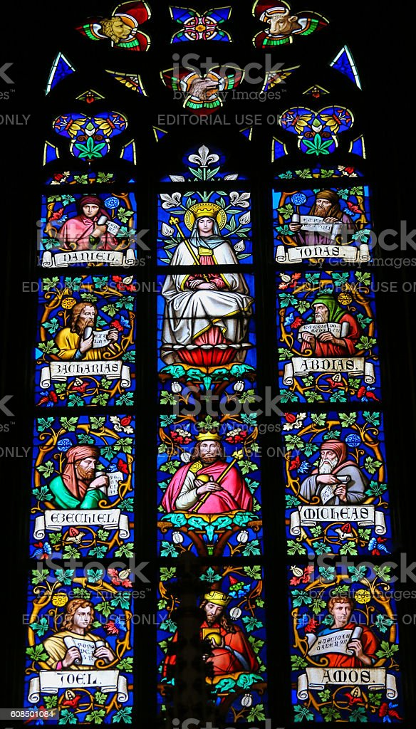 Stained Glass - Mother Mary and Prophets stock photo