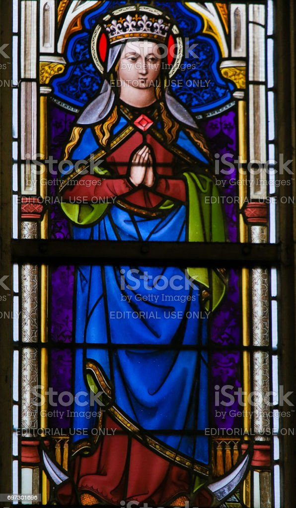 Stained Glass - Mother Mary stock photo
