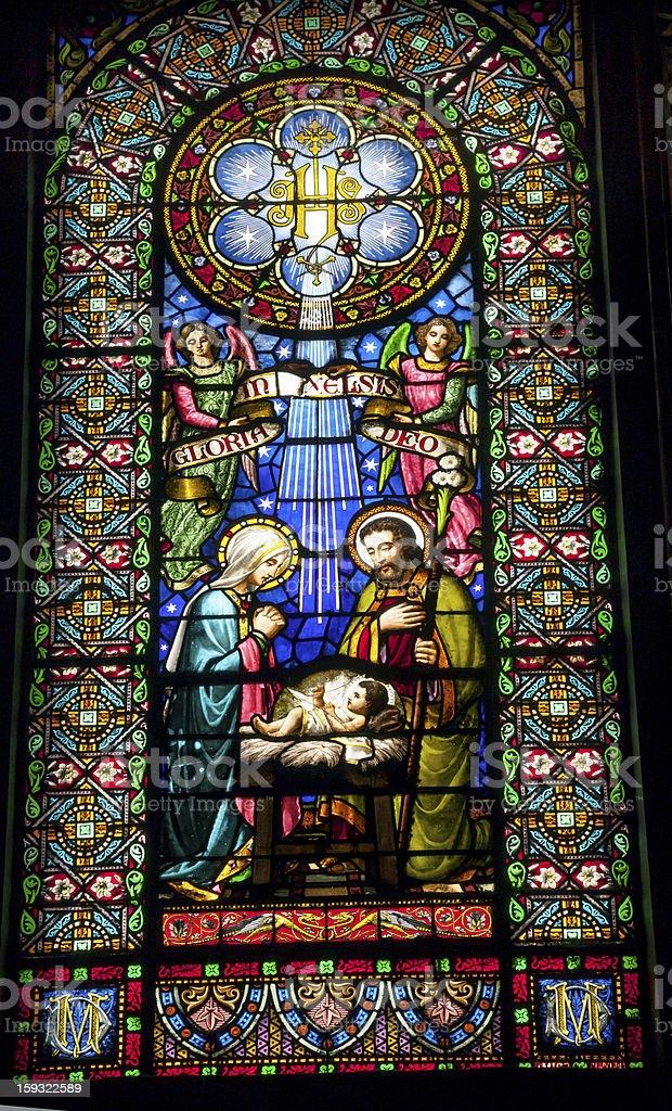 Stained Glass Nativity Jesus Mary Joseph Monastery Montserrat Catalonia Spain royalty-free stock photo