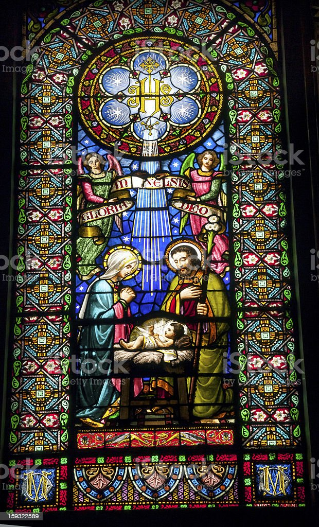 Stained Glass Nativity Jesus Mary Joseph Monastery Montserrat Catalonia Spain stock photo