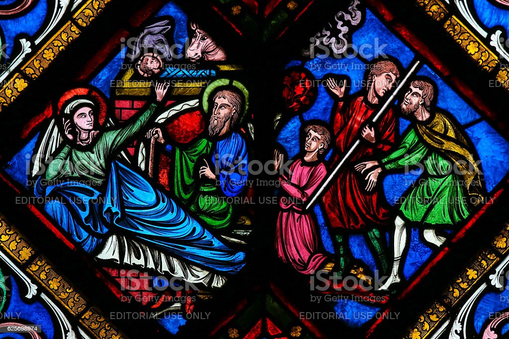 Stained Glass - Nativity Scene at Christmas stock photo