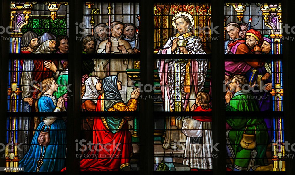 Stained Glass of Holy Communion in Den Bosch Cathedral stock photo