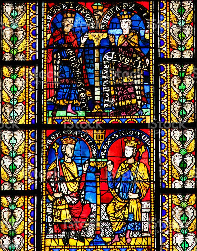 Stained Glass of King Solomon in Cathedral of Strasbourg stock photo