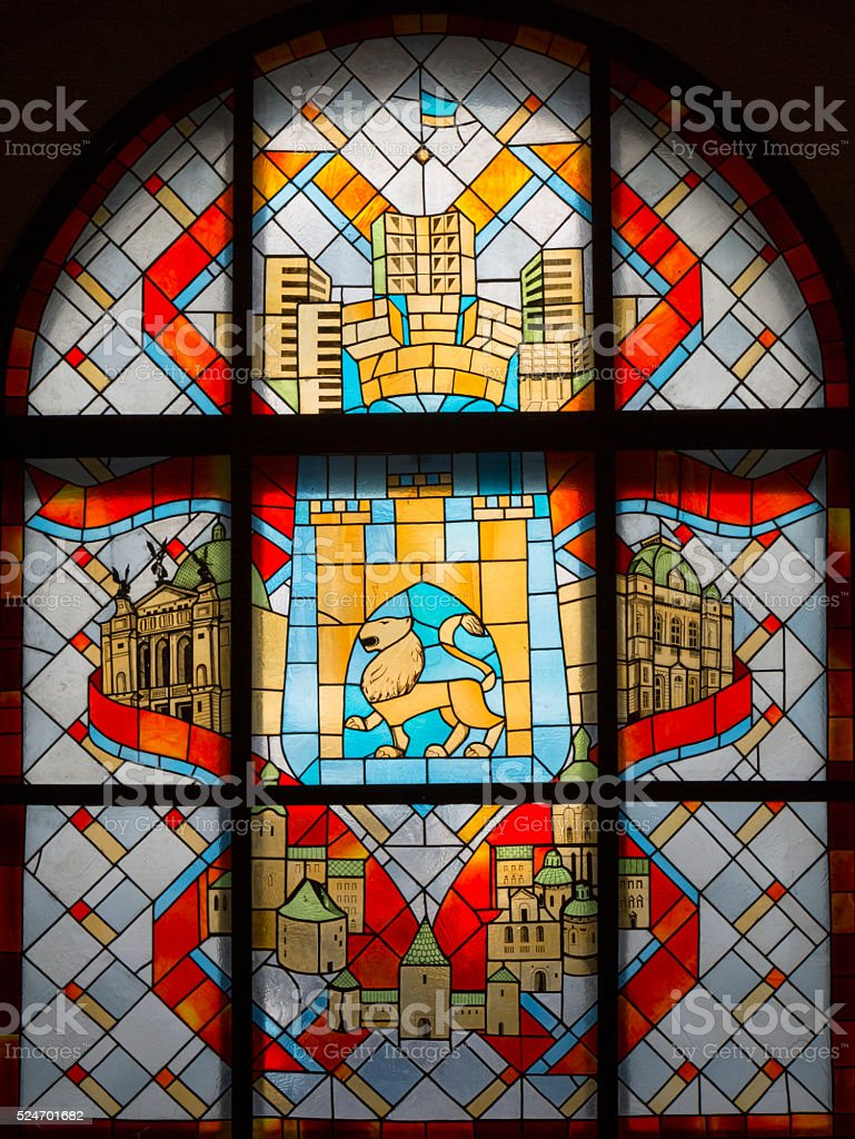Stained Glass of Lviv City Hall stock photo