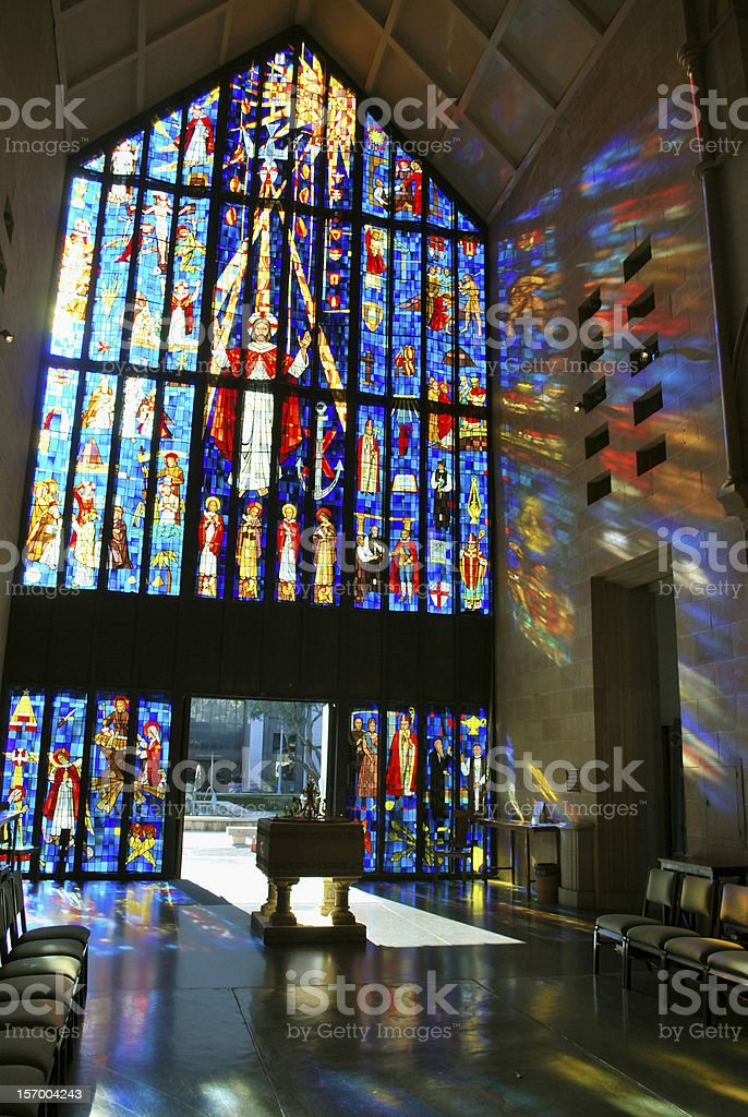 Stained Glass of the Cathedral in Honolulu royalty-free stock photo