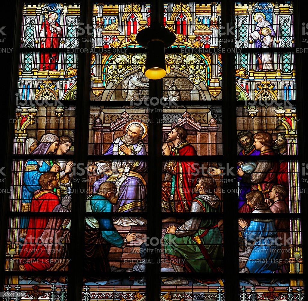 Stained Glass of The Sacrament of Confession stock photo