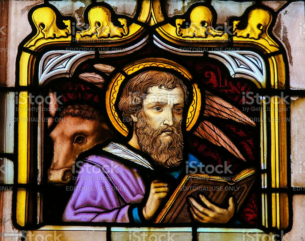 Stained Glass of the Saint Luke the Evangelist stock photo