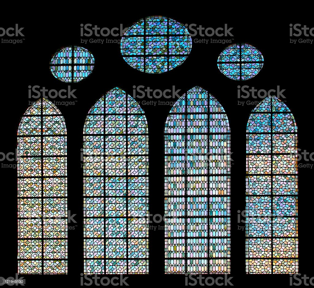 Stained Glass on black in Mont Saint-Michel abbey, France royalty-free stock photo