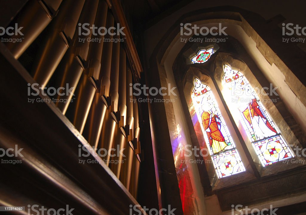 Stained Glass & Organ Pipes royalty-free stock photo