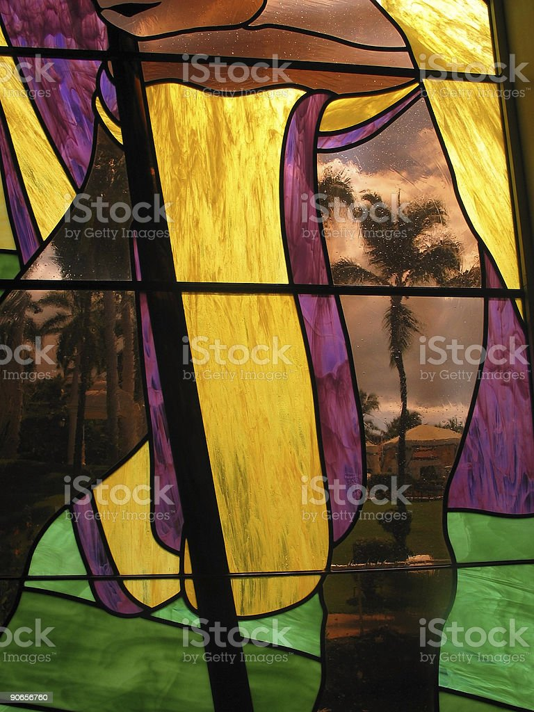 Stained Glass Palm royalty-free stock photo